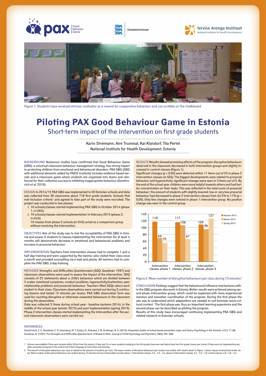 Piloting PAX Good Behaviour Game in Estonia